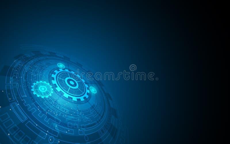 Abstrakt digital för modellinnovation för hög tech rund bakgrund för funktionsduglig design för system för begrepp vektor illustrationer