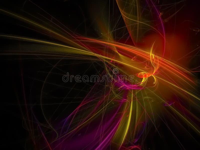 abstrakt digital fractal, för fantasienergi för kaos magisk svart för skönhet för garnering, flammadesignframtid vektor illustrationer