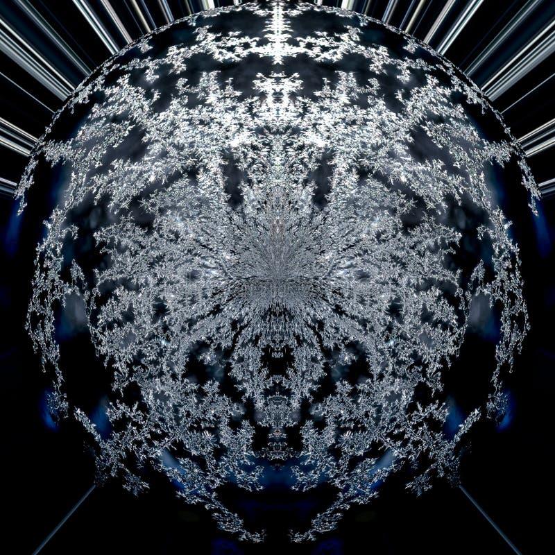 Abstrakt digital futuristisk modern bakgrundswallart av en svart, blå och vit runda, grafisk planet för fördjupningfractal in royaltyfri illustrationer