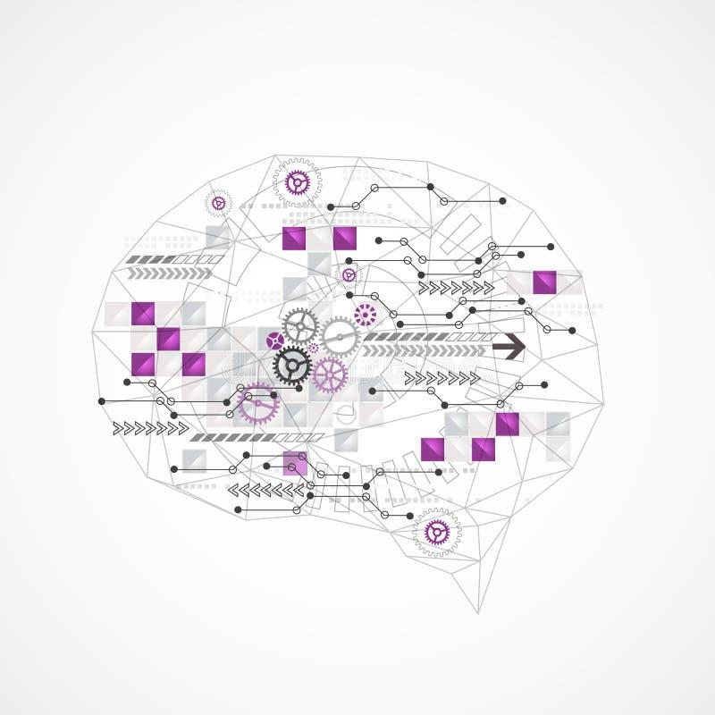 Abstrakt digital hjärna, teknologibegrepp stock illustrationer