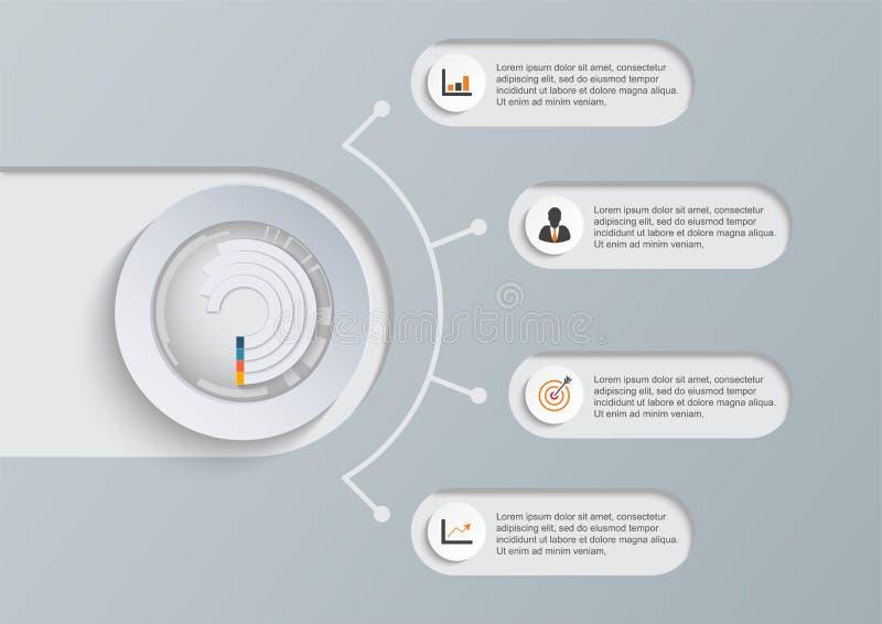 Abstrakt digital illustration Infographic Vektorillustrationen kan användas för workfloworienteringen, diagrammet, nummeralternat royaltyfri illustrationer
