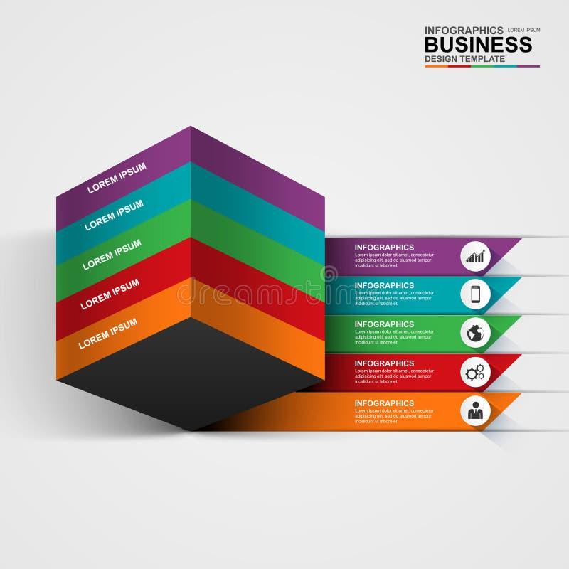 Abstrakt digital kub Infographic för affär 3D stock illustrationer
