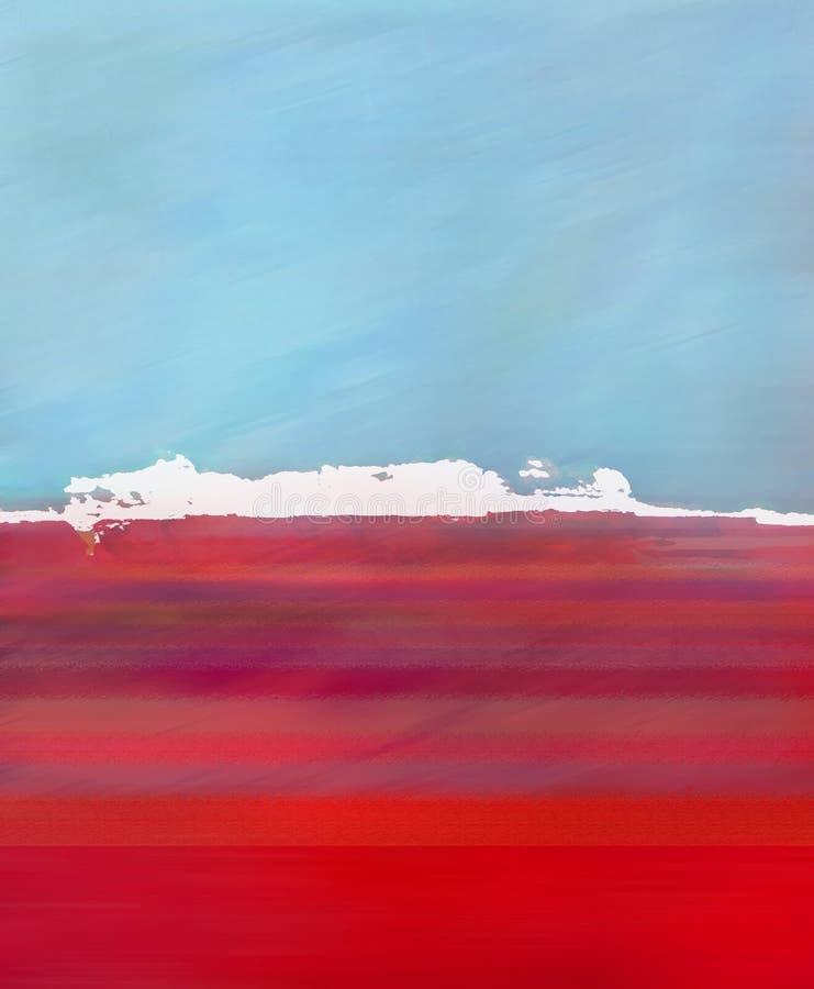 Abstrakt Digital landskapillustration med ön, himmel och havet i blåa orange färger royaltyfri illustrationer