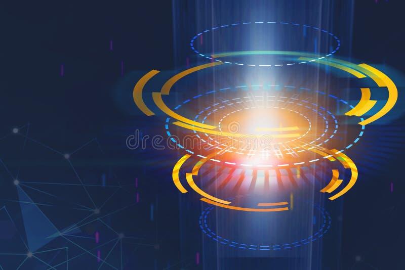 Abstrakt digital rund knapp på utrymmebakgrunden teknologi- och innovationbegrepp royaltyfri illustrationer