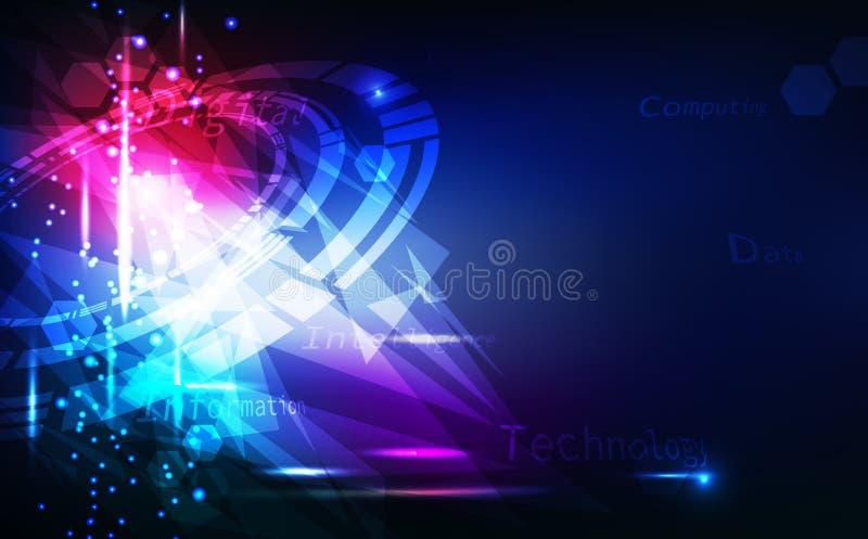 Abstrakt digitala technoloy bakgrund, triangel och cirkel, idérik design för exponeringsglaskristallspegel med vektorn för ljus e vektor illustrationer