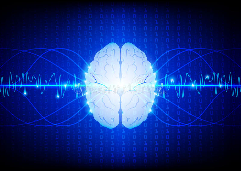 Abstrakt digitalt hjärnteknologibegrepp illustrationvektor D royaltyfri illustrationer