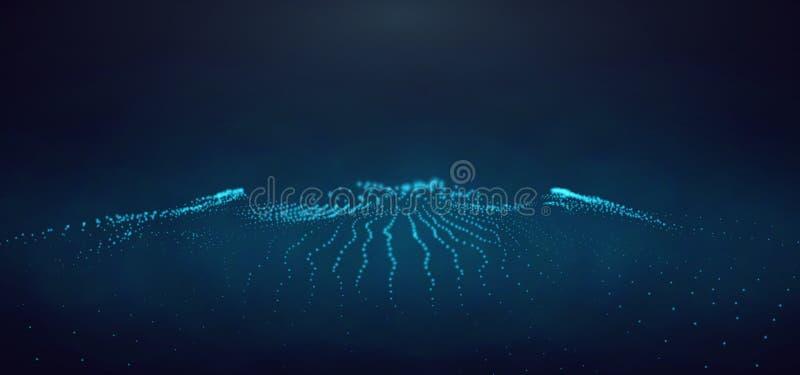Abstrakt digitalt landskap med flödande partiklar och glödande ljus Cyber- eller teknologibakgrund ocks? vektor f?r coreldrawillu royaltyfri illustrationer