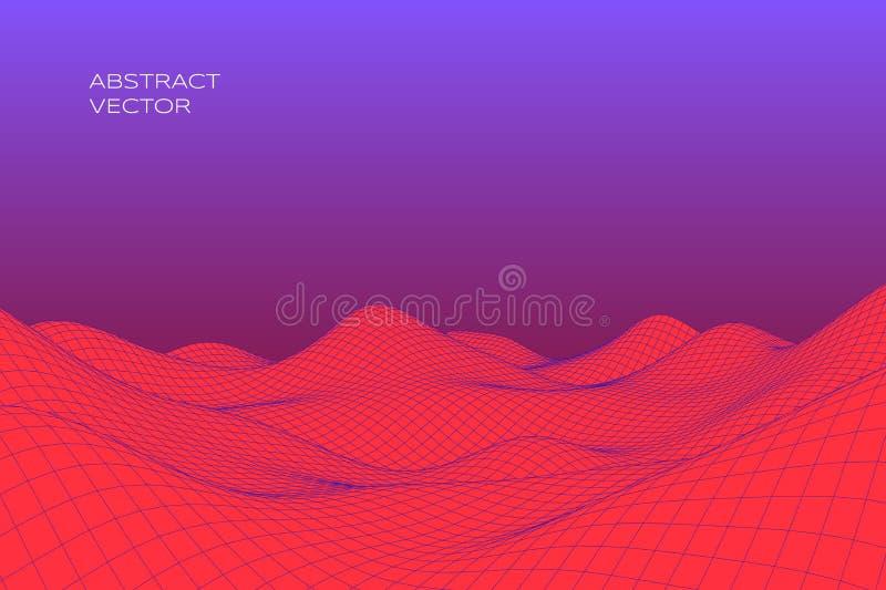 Abstrakt digitalt landskap med lutning Cyber- eller teknologibakgrund ocks? vektor f?r coreldrawillustration vektor illustrationer