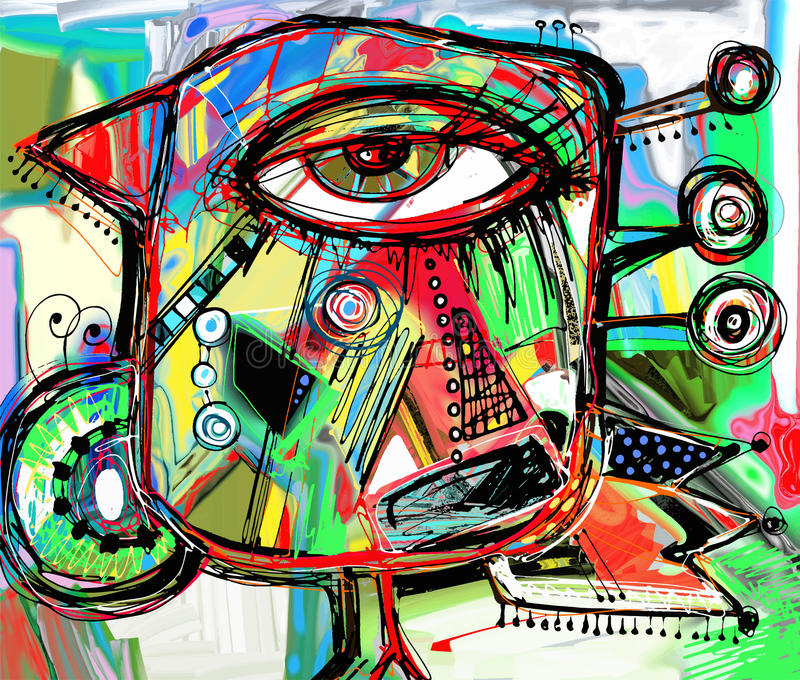 Abstrakt digitalt målningkonstverk av klotterfågeln vektor illustrationer