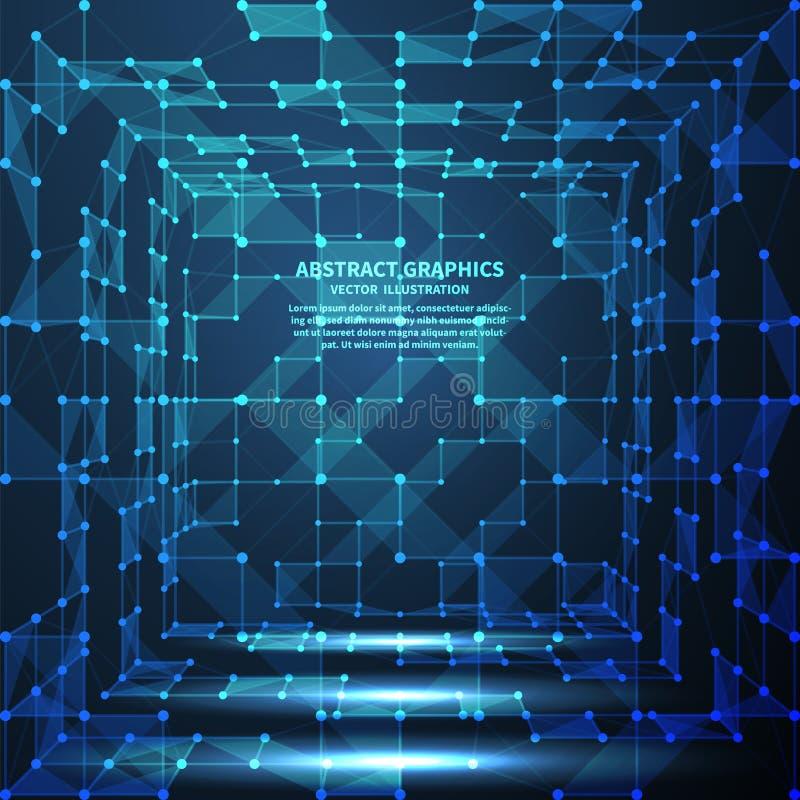 Abstrakt digitalt rum, vektorillustration Nätverksanslutningar med punkter och linjer abstrakt bakgrundsteknologi royaltyfri illustrationer