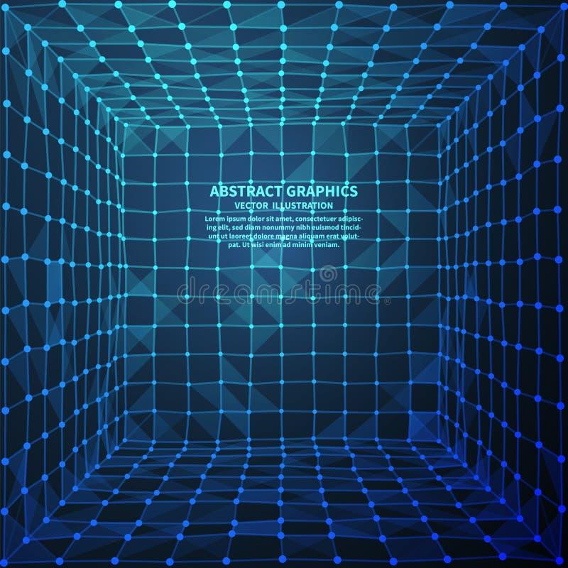 Abstrakt digitalt rum, vektorillustration Nätverksanslutningar med punkter och linjer abstrakt bakgrundsteknologi stock illustrationer