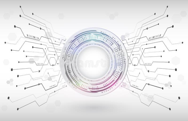 Abstrakt digitalt teknologibegrepp för hög tech Radiell dator stock illustrationer