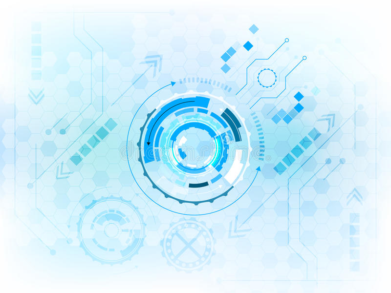 Abstrakt digitalt teknologiskt begrepp för kugghjulhjul med strömkretsbrädet vektor illustrationer