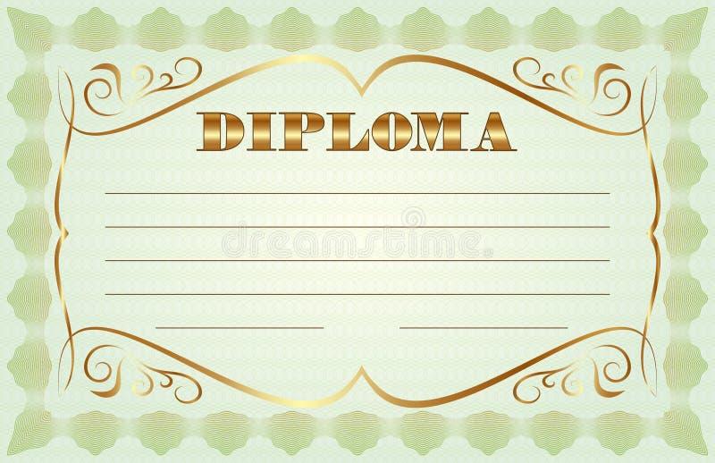 Abstrakt diplommall för vektor royaltyfri illustrationer