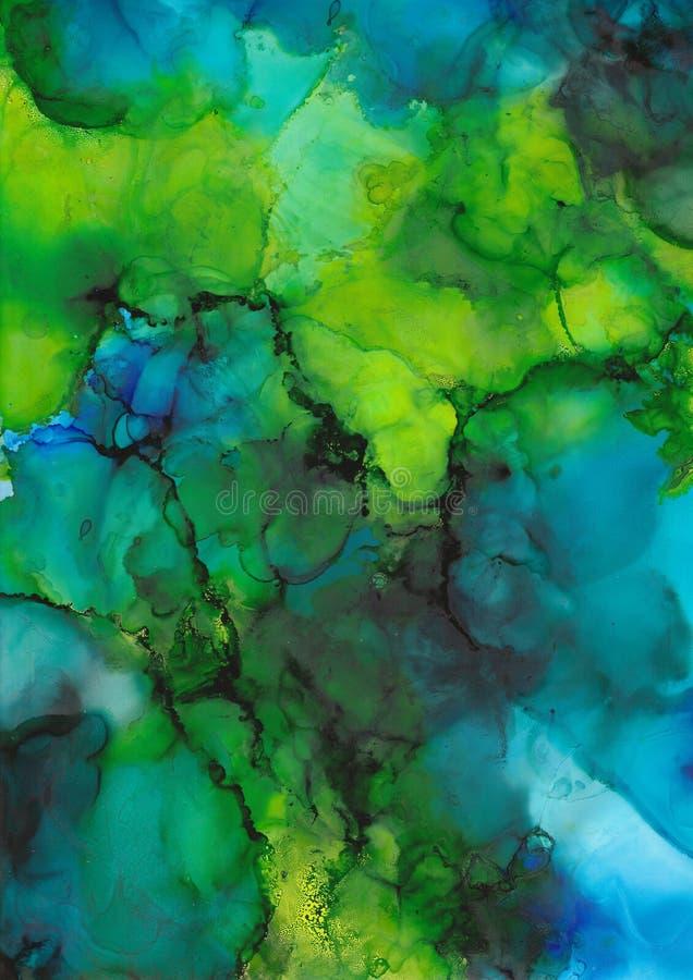 Abstrakt djupt - grön och blå lutning, i lager genomskinlig bakgrund, smaragd vektor illustrationer