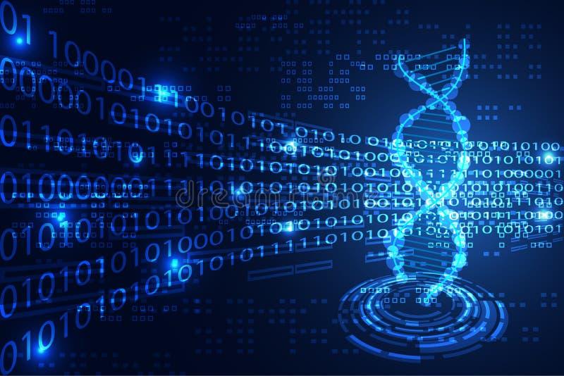 Abstrakt DNA för teknologivetenskapsbegrepp som är binärt på blått b för hög tech stock illustrationer