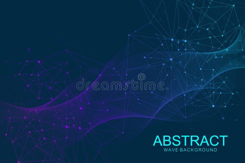 Abstrakt DNAforskning för medicinsk bakgrund, molekyl, genetik, genom, DNAkedja Genetiskt analyskonstbegrepp med vektor illustrationer