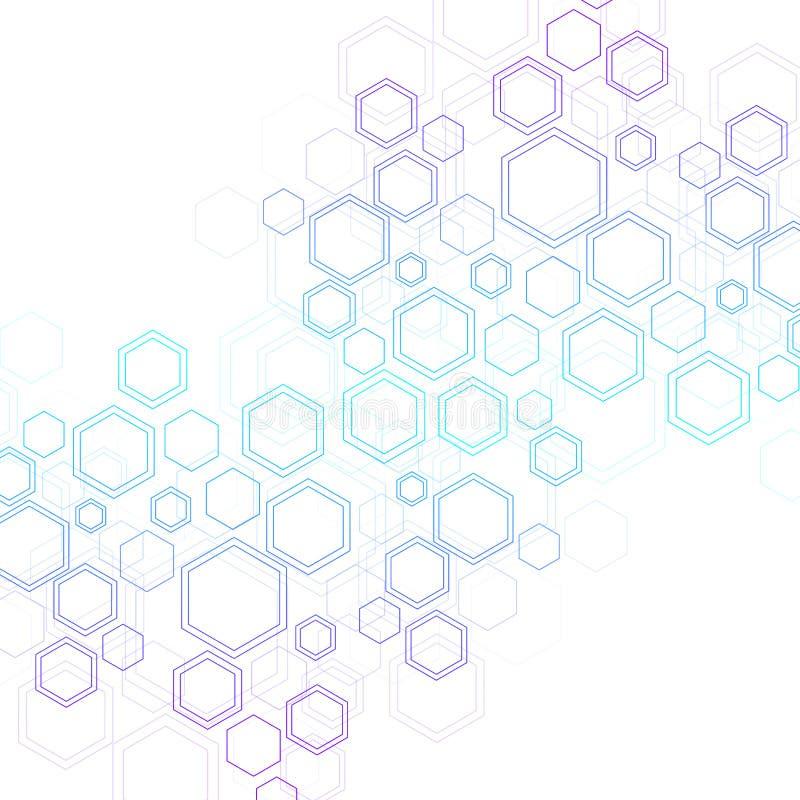 Abstrakt DNAforskning för medicinsk bakgrund, molekyl, genetik, genom, DNAkedja Genetiskt analyskonstbegrepp med stock illustrationer