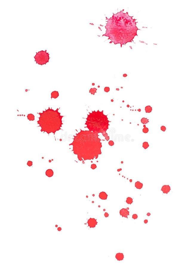 Abstrakt dragit rött blod för vattenfärgaquarelle hand stock illustrationer