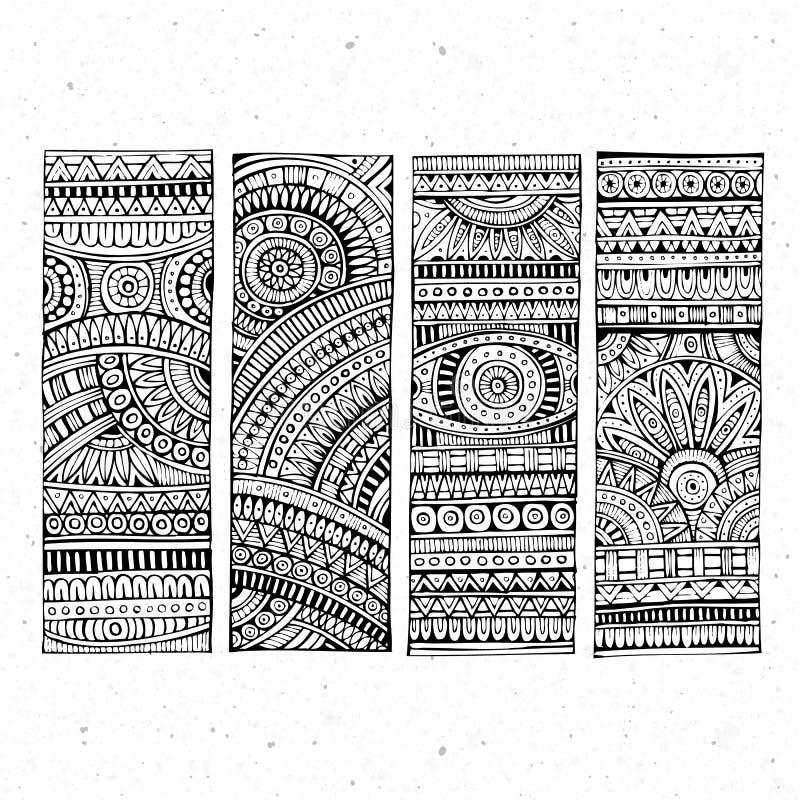 Abstrakt drog etniska baner för vektor hand royaltyfri illustrationer
