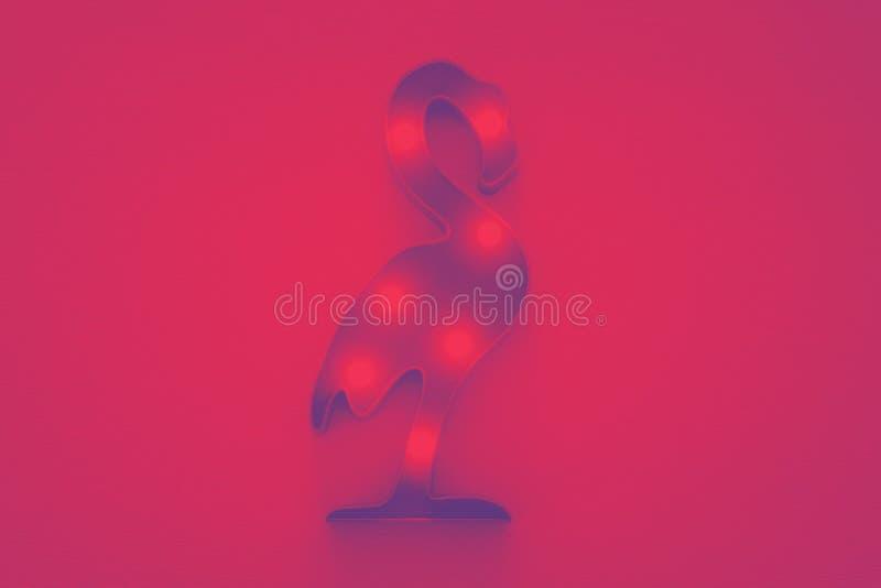Abstrakt duotonefoto av den plast- flamingolampan med ljusdiod stock illustrationer