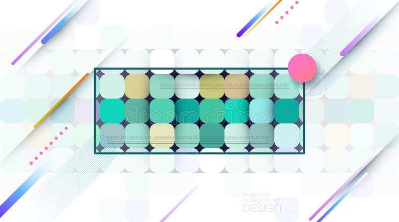 Abstrakt dynamisk rörelse av geometrisk form, modellsammansättning Färgrik lutningbakgrund Modernt diagram för vektor som är mins vektor illustrationer