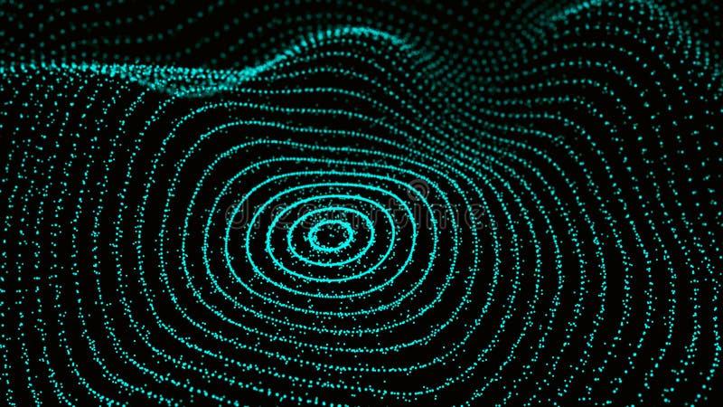 Abstrakt dynamisk våg av partiklar Nätverk av ljusa punkter eller prickar Stora data digital bakgrund framf?rande 3d stock illustrationer