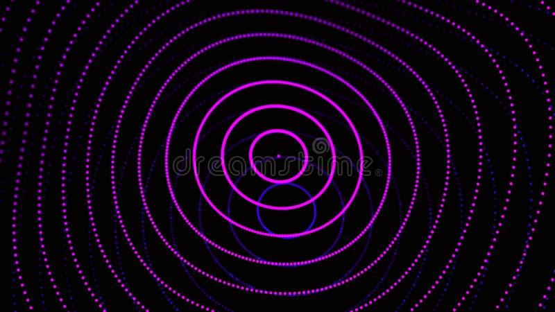 Abstrakt dynamisk våg av partiklar Nätverk av ljusa punkter eller prickar Stora data digital bakgrund framf?rande 3d royaltyfri illustrationer