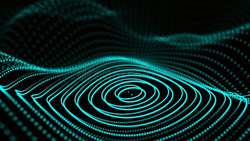 Abstrakt dynamisk våg av partiklar Nätverk av ljusa punkter eller prickar Stora data digital bakgrund framf?rande 3d vektor illustrationer