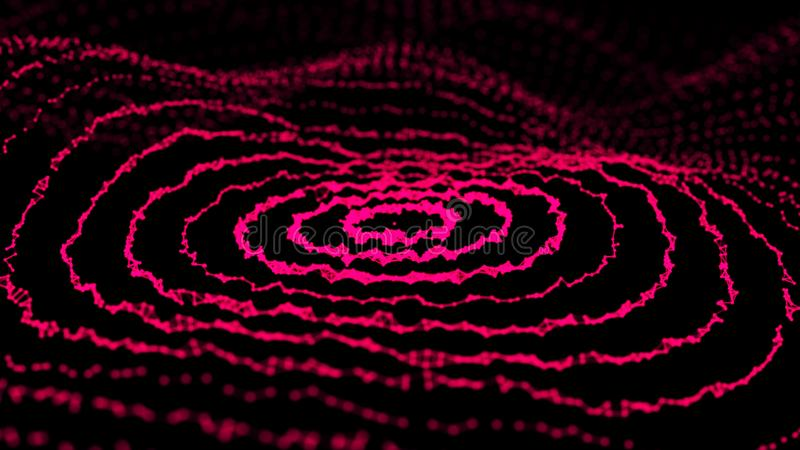 Abstrakt dynamisk våg av punkter och linjer Nätverk av ljusa partiklar förbindelse av linjer Stora data framf?rande 3d vektor illustrationer