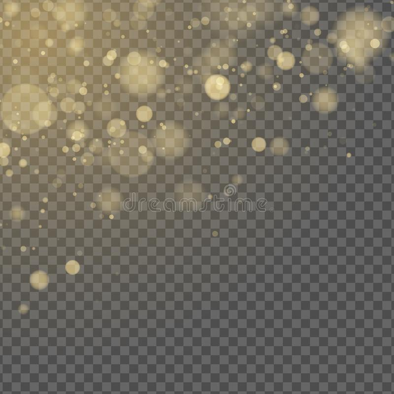 abstrakt effektlampa Gul bokeh som isoleras på genomskinlig bakgrund guld- gl?d Guld- bl?nker Slumpm?ssiga oskarpa fl?ckar vektor stock illustrationer