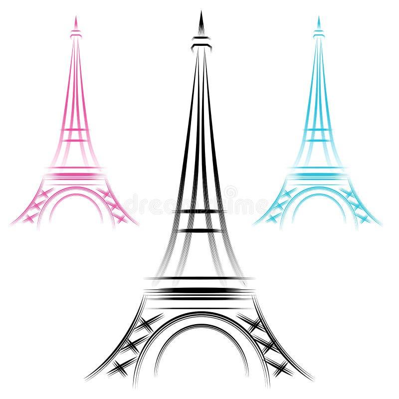 Abstrakt Eiffel står hög royaltyfri illustrationer