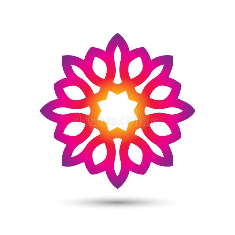 Abstrakt elegant design för vektor för blommalogosymbol Universellt idérikt högvärdigt symbol Behagfullt juvelvektortecken vektor illustrationer