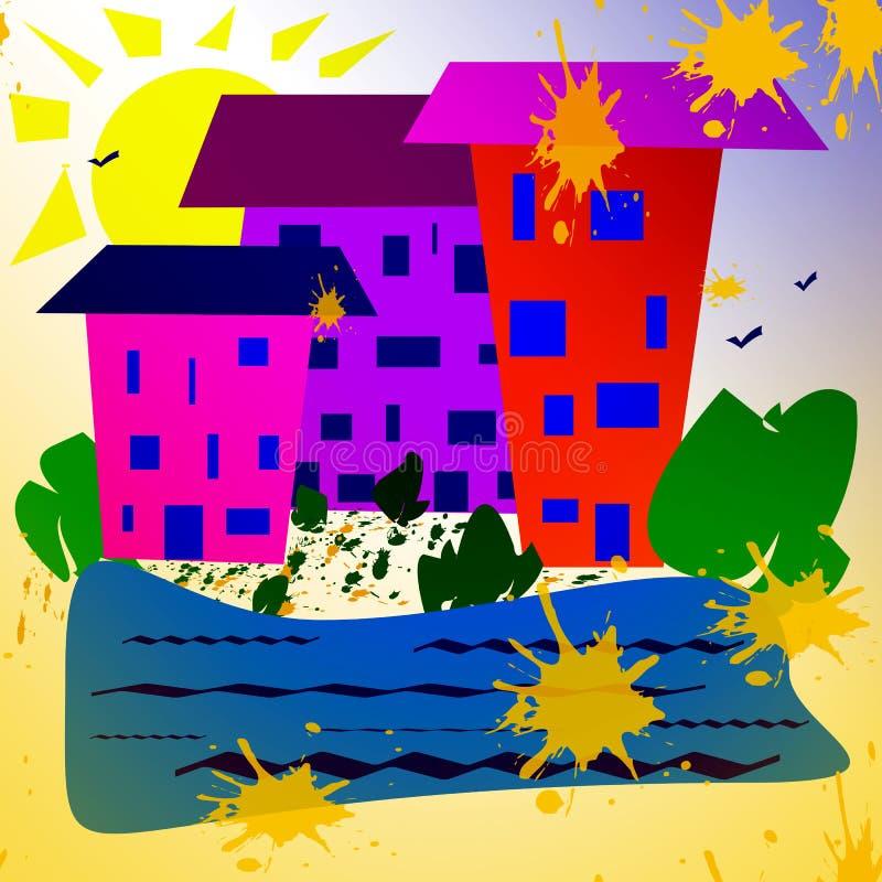 Abstrakt enkel bild Solig dag hus nära en behållare, växter royaltyfri illustrationer