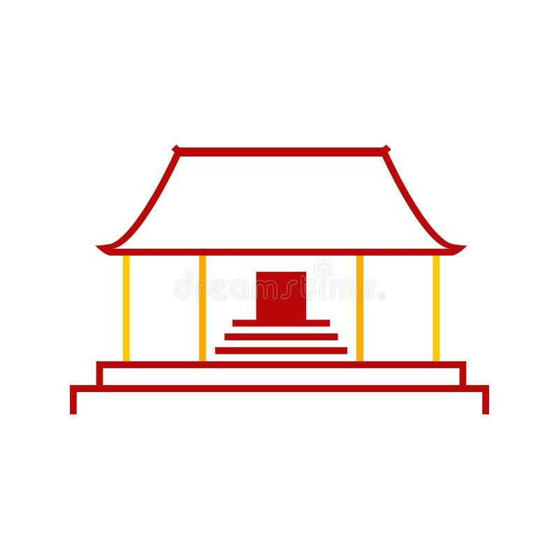 Abstrakt enkelt kinesiskt diagram för illustration för pagodtempelvektor royaltyfri illustrationer