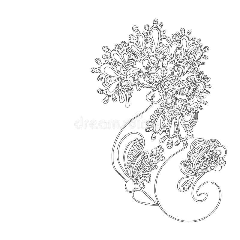 Abstrakt etnisk blomma i klotterstil arkivfoto