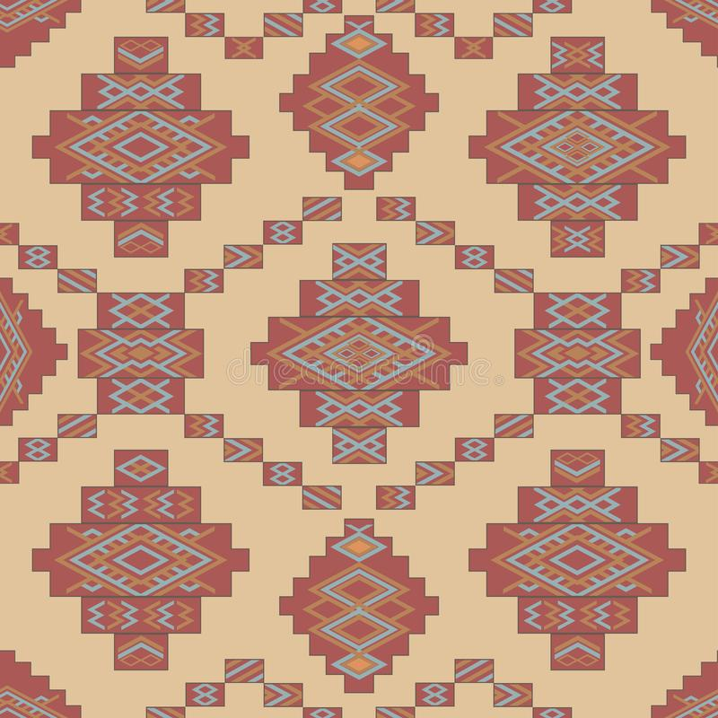 Abstrakt etnisk geometrisk modell, stam- matta, sömlös vektorillustration royaltyfri illustrationer