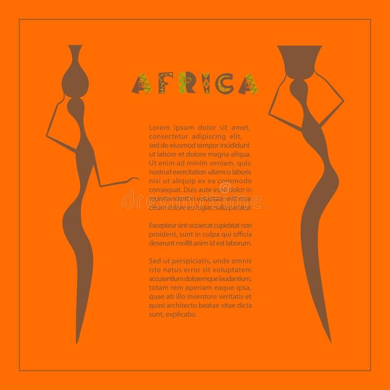 Abstrakt etnisk modell med den afrikanska kvinnakonturn vektor illustrationer