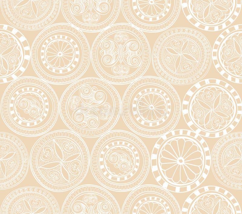 Abstrakt etnisk sömlös bakgrund. Blom- linje textur. royaltyfri illustrationer