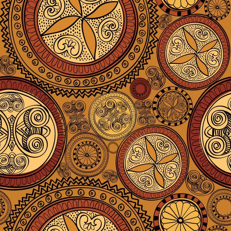 Abstrakt etnisk sömlös bakgrund. Blom- linje textur. stock illustrationer