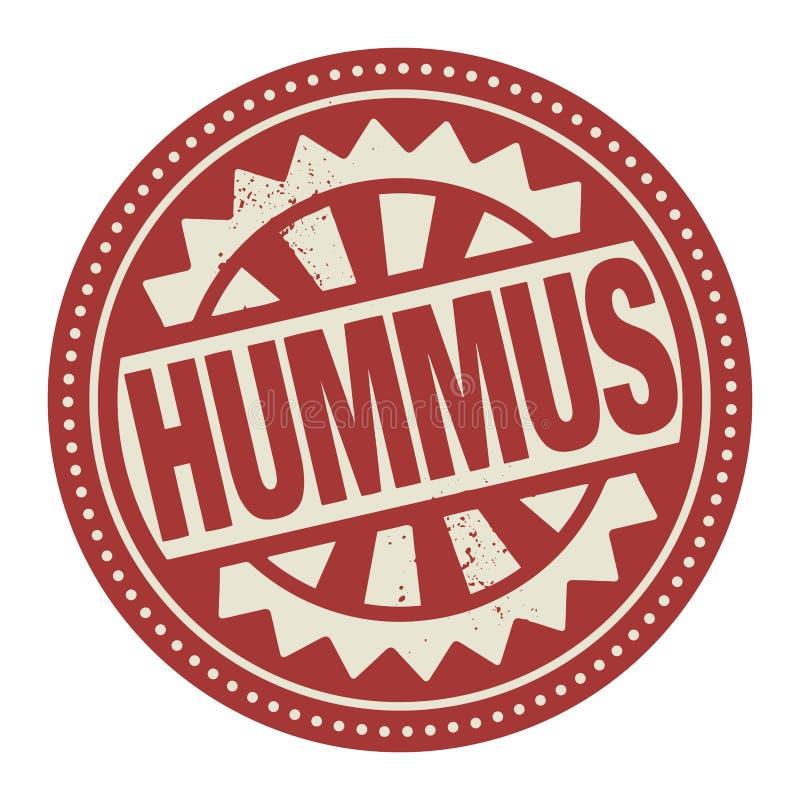 Abstrakt etykietka z tekstem Hummus pisać inside lub znaczek ilustracja wektor