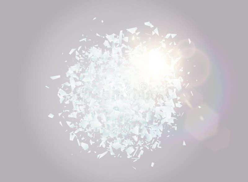 Abstrakt explosionmoln av vita stycken med ljus effekt för linssignalljus Explosiv förstörelse Partiklar av brutet exponeringsgla vektor illustrationer