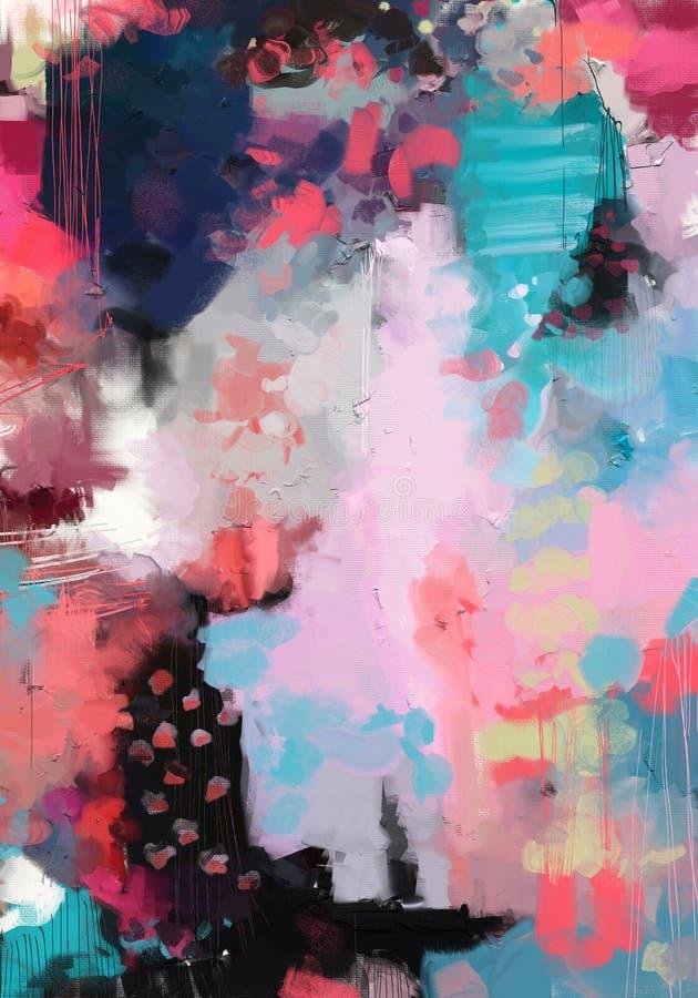 Abstrakt expressionistiskt konstverk för olje- målning för stil på kanfas royaltyfri illustrationer