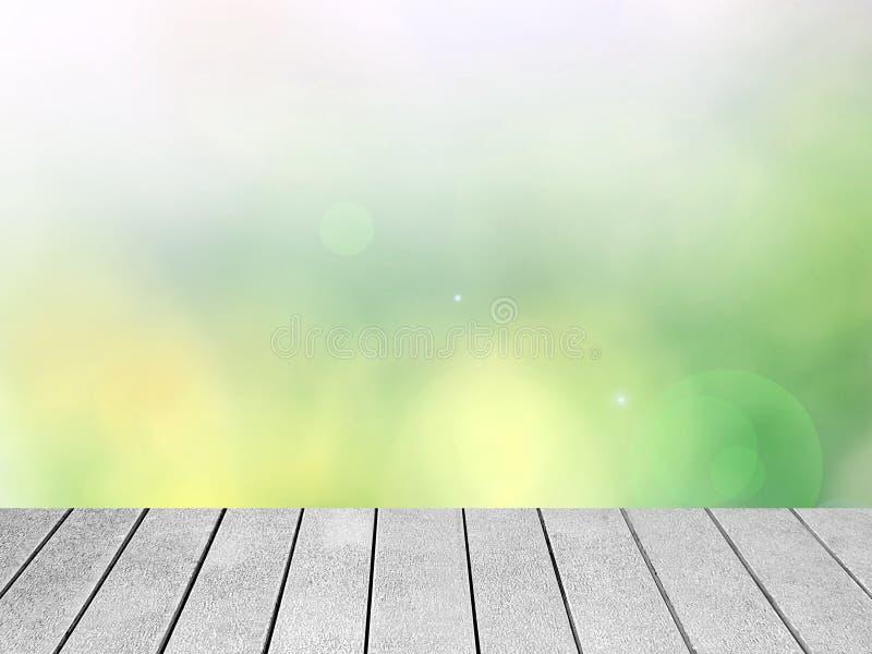 Abstrakt färgglad Bokeh bakgrund med träplankor royaltyfria foton