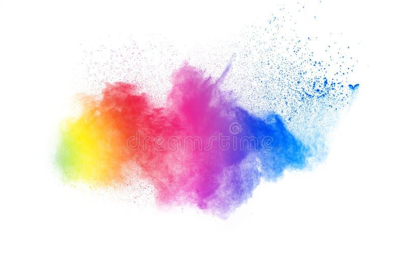 Abstrakt färgpulverexplosion på vit bakgrund royaltyfria foton