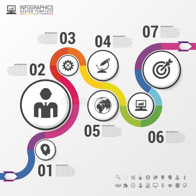 Abstrakt färgrik affärsbana Infographic mall för Timeline vektor vektor illustrationer