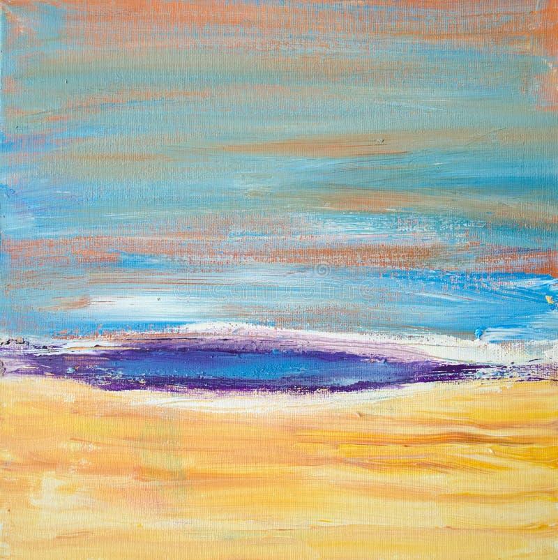 Abstrakt färgrik akrylmålning kanfas Kan användas som en vykort Enheter för borsteslaglängdtextur konstnärlig bakgrund stock illustrationer