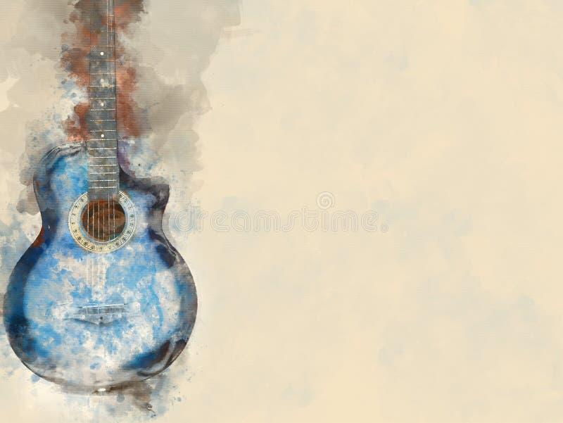 Abstrakt färgrik akustisk gitarr i förgrundsslutet upp på vattenfärgmålningbakgrund stock illustrationer