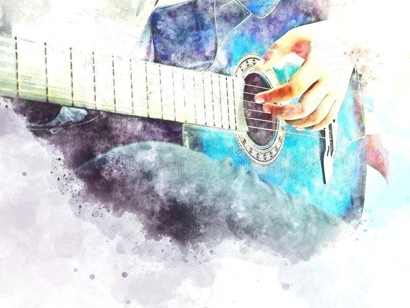 Abstrakt färgrik akustisk gitarr i förgrundsslutet upp på vattenfärgmålningbakgrund vektor illustrationer