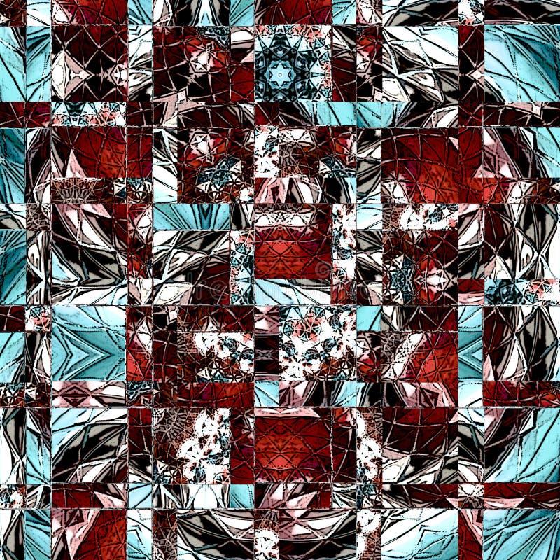 Abstrakt färgrik bakgrund av diamanten, kuben & fyrkanten formar i blått och brunt arkivbild